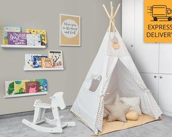 Tipi Set - Kids Play Tent Teepee - Cinnamon Dust