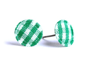 Green and white plaid round dot padded fabric stud earrings (325)