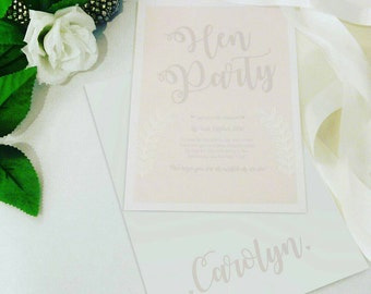 10 Personalised Hen Party Invitations / Itinerary Cards