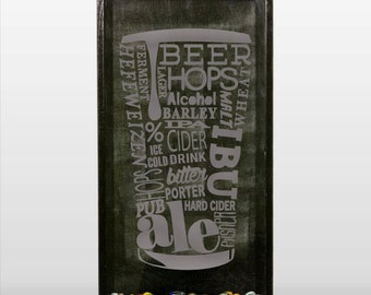 Beer Pint Words Glass - Vinyl Sticker Decal