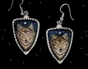 RESERVED  custom wolf scrimshaw technique earrings resin Moosup Valley Designs
