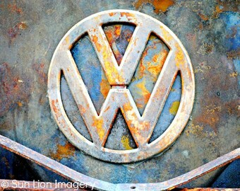 Rusty V-Dub - Wall Art - Retro Print - Vintage Car Photography - Garage Art - Rust - Blue - 8x10
