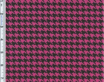 Hot Pink/Black Stretch Houndstooth, Fabric By The Yard