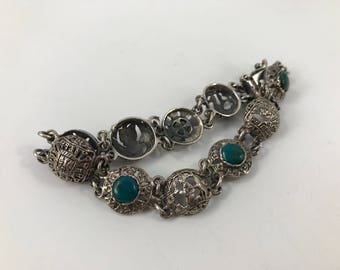 Vintage 1980's Era Ladies' Sterling Silver and Jade Bracelet