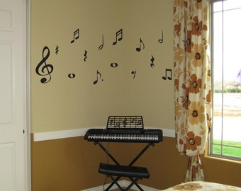 Music Notes Vinyl Wall Decal Sticker Large