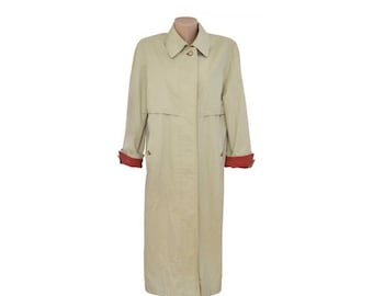 Vintage Valmeline long trench coat women beige 96% cotton 4 polyuretan