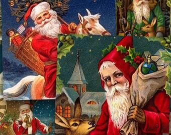 Christmas Printable Santas, Vintage Collage Sheet 1.5 inch Squares, Vintage Christmas Clip Art, Santa Claus Printables, DIY - piddix 431