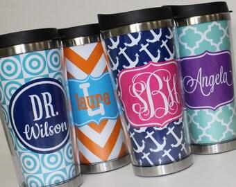 Travel Coffee Tumbler - Monogrammed Coffee tumbler - Personalized Coffee Cup - Monogram Gift - Personalized gift - Teacher Gift