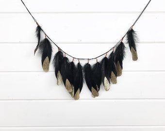 Black and Gold Feathers, Glitter Dipped Feathers, Boho Garland, Glitter Feathers, Tribal Garland, Gift for Her, Gold Glitter Feathers