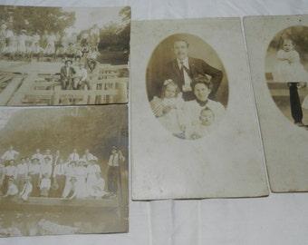 Vintage Real Photo Postcards - total 14 - RPPC- early 1900's - Men, Women, Children, Swimsuits, Groups, Portraits - Collectible Ephemera 3-7