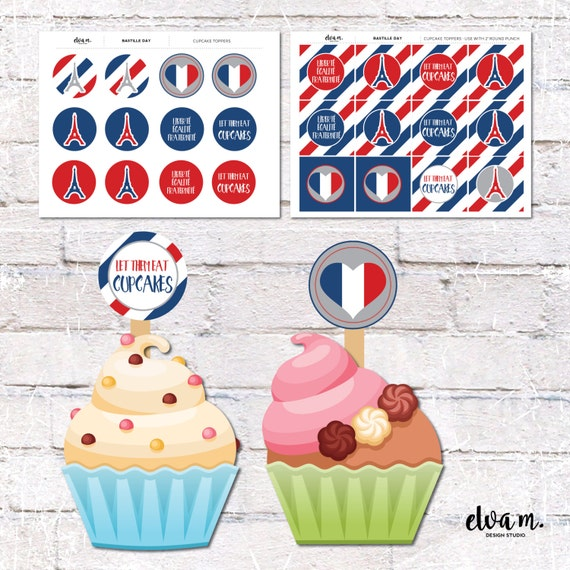 French Theme Cupcake Toppers And Cake Bunting Party Decor Printable DIY DIGITAL DOWNLOAD From ElvaM On Etsy Studio