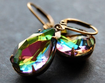 Estate Style Rainbow Glass Earrings, Antique Brass Leverback, Vintage Multicolor Glass Teardrop, Colorful Czech Glass Earrings