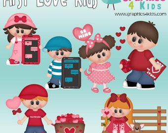 First love kids Digital Clipart - Clip art for scrapbooking, party invitations - Instant Download Clipart Commercial Use