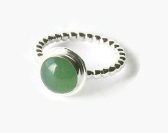 Green aventurine ring sterling silver / Mint Green gemstone ring handmade
