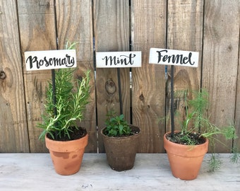 Plant Markers, Garden Markers, Wooden Herb Markers, Double-sided