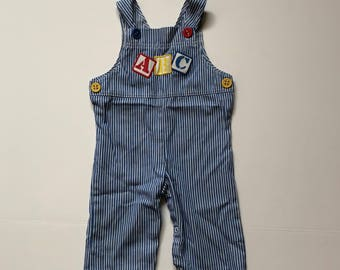 1980's Carters Primary Striped ABC Overalls (12 months)