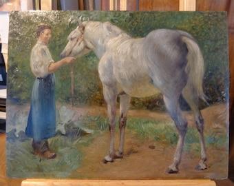 Antique French oil painting white horse signed Denis Caucaunier