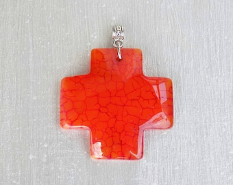 Orange Dragon vein Agate (gemstone) cross - 48 X 39 X 6 mm - engraved bail silver antique pendant.