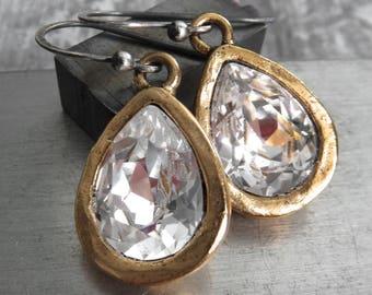Swarovski Clear Crystal Teardrop Earrings, Matte Antiqued Gold Artistic Bezels, Mixed Metal Earrings, Vintage Style Bridal Wedding Jewelry