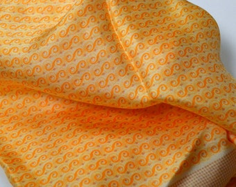 Vintage Anne Klein Silk Scarf Orange and Beige 23 inch Sq