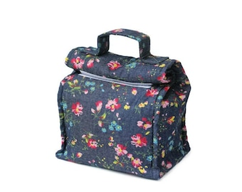 MTO Insulated lunch bag with handle - Denim/Flowers