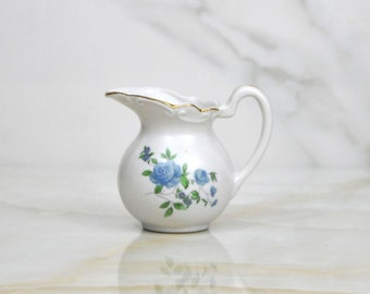 Vintage Floral Miniature Pitcher, Blue Roses,1950s, Miniature Creamer, Small Pitcher, Floral Motiff, Wild Flower Pitcher, Miniature Vase