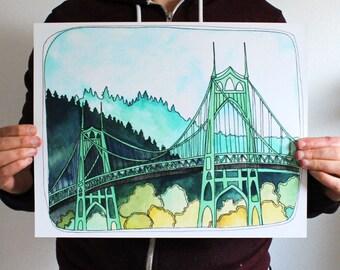 Art Print - Portland Art - St Johns Bridge Illustration - Portland Art Print - Print of St Johns Bridge - 11x14 Print  - St Johns Bridge