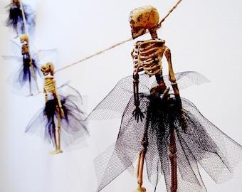 Dressed Skeleton Garland, Halloween Banner Decoration, Skeletons with Tutus, Goth Wedding, Black Bone, Ballerina Skeleton, Miss Otis Regrets