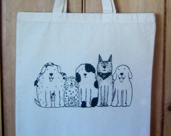 Dogs in a Row natural cotton tote bag