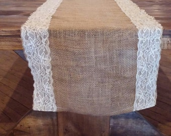 burlap and lace table runner, wedding table runner, rustic, country