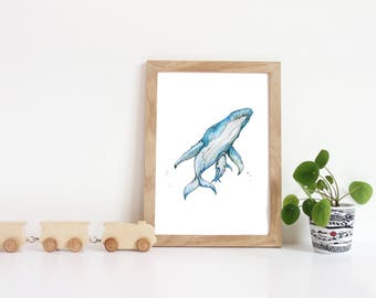 Whale Nursery Art, Whale Decor, Whale Nursery, Creature, Humpback Whale, Nursery Animals, Watercolor Whale, Whale Art, Beach Wall Art