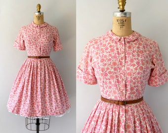 1950s Vintage Dress - 50s Pink Floral Paisley Cotton Shirtwaist Day Dress