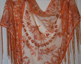 Silk Blend Orange Sheer Scarf Shawl Fringed - Floral Rhinestones