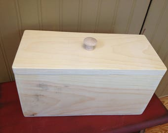 Unfinished Wooden New England Folk Art Keepers Pine Box, Hand Made