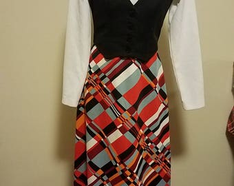 Vintage 70s Polyester Mod Geometric Psychedelic Maxi Dress