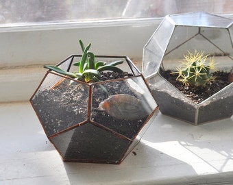 Atlas Terrarium Planter Kit -- geodesic glass terrarium -- stained glass - copper or silver -- eco friendly