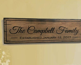 Rustic wood sign /  Personalized Wood Sign / Family Name Sign /  rustic home decor / Rustic wedding signage