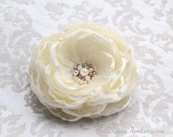 Ivory Hair Flower/ Brooch/ Handmade Wedding Accessory