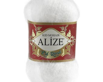 5 x 50g knitted yarn Alize Kid Royal #55 White