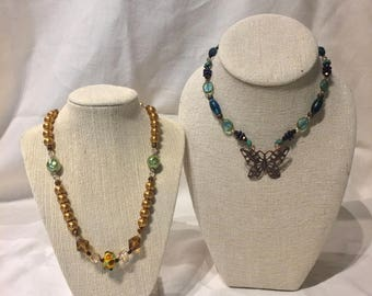 Handmade Jewelry Necklace Duo: Butterfly and Floral Bundle on Sale