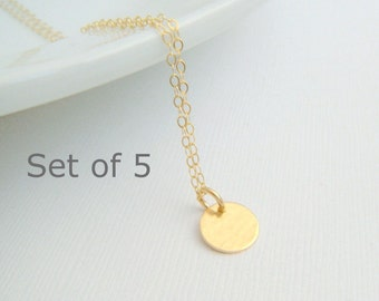 bridesmaid necklaces. SET OF 5: tiny gold circle. 14k gold filled hammered disc. modern wedding. bridal gifts. delicate. dainty. 3/8 inch