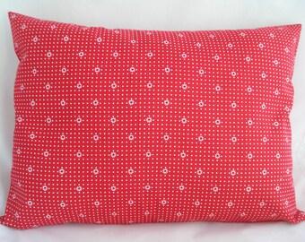 "TRAVEL Pillowcase / 12"" X 16"" RED & White Pin Dot Pillowcase / Daisies and Dots Pillowcase / Red White Fabric / Tiny DAISY Pillowcase"