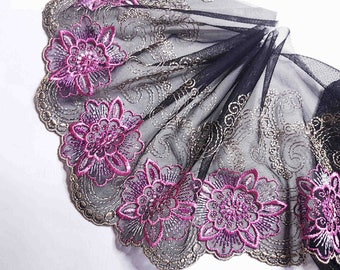 x1m great lace embroidery on tulle black flower fuchsia width 18cm