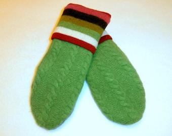 Sweater Mittens ~ Felted Wool Sweater Mittens ~ Recycled Sweater Mittens ~  Fleece Lined  Mittens ~ Women's  Mitten