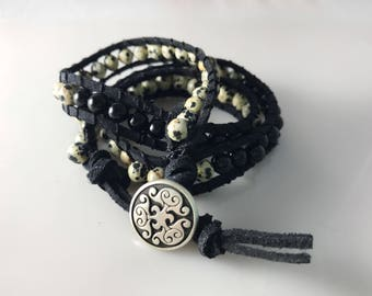 Handmade Leather Wrap Bracelet With Onyx & Moon Stones