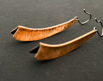 Fold forming Oxidized Copper Earrings with Sterling Silver Hook