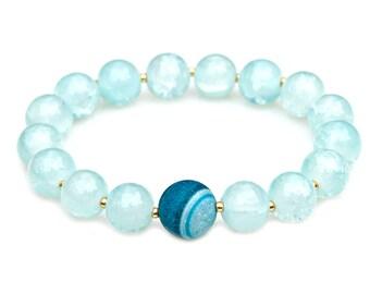 Blue Agate Bracelet Crackled Sky Blue Beads Clean Aqua Ocean Beach Jewelry Gold Accents Feminine Flair Boho Chic Style by Mei Faith