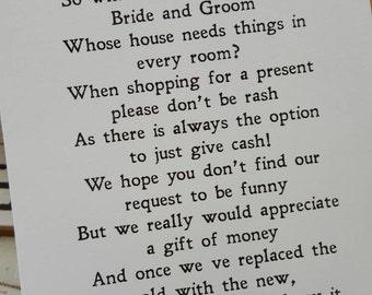 Wedding Money Poem x 50
