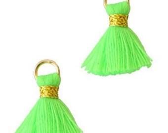 Beaded tassels, tassels, tassel pendant-1.5 cm-3 pcs.-Color selectable (color: green)