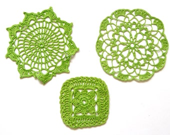 3 Bright  green hand dyed Crochet Doilies Vintage doilies